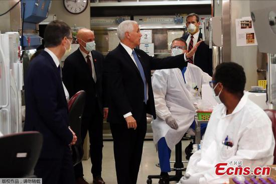 U.S. Vice President Mike Pence tours Mayo Clinic facilities without face mask